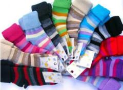 Kojenecké vlněné teplé ponožky proužkované vel. 0 (17-19)