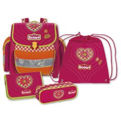 Školní set Scout - 4-dílný - růžové srdíčko II.