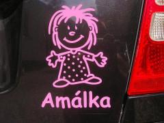 """Nálepka na auto - """"dítě v autě"""" se jménem a obrázkem dle vlastního výběru"""