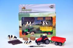 Sada farma - traktor 10cm s vlekem na baterie se světlem se zvukem a doplňky