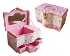 Šperkovnice se šuplíčky růžovo/bílá