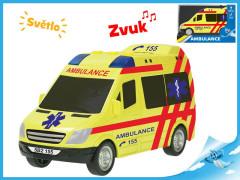 Auto ambulance 18cm na setrvačník na baterie se světlem a zvukem
