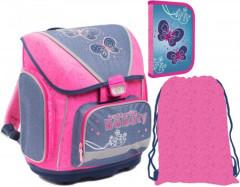 Školní SET batoh PREMIUM+penál+sáček Motýlci Butterfly 2015