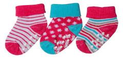 Bavlněné ponožky s protiskluzem červeno-modré proužky 0 - 6 měs  - 3 páry - VÝHODNÉ BALENÍ