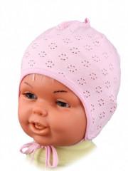 Lehká kojenecká čepička zavazovací RŮŽOVÁ vel. 00 , pro novorozence