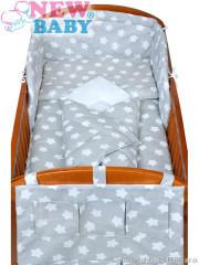 5-dílné ložní povlečení New Baby 90/120 cm hvězdičky šedé