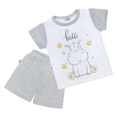 Dětské letní pyžamko New Baby Hello s hrošíkem bílo-šedé