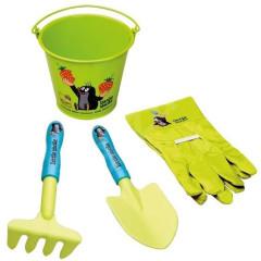 Zahradní nářadí dětské s kbelíkem průměr 15cm plast/plech Krtek
