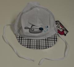 Kšiltovka kojenecká zavazovací s károvaným kšiltem vel. 42 - BÍLO-ŠEDÁ