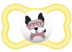 Šidítko Air Animal silikon 6m+ Žlutý + pejsek s brýlemi MAM