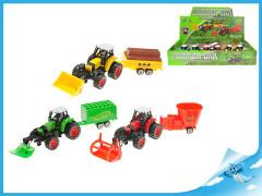 Traktor s vlečkou 20cm kov zpětný chod
