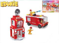 EDUKIE stavebnice hasičská stanice s autem 241 ks + 3 figurky