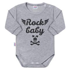 Kojenecké body s dlouhým rukávem New Baby Rock baby šedé