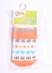 Kojenecké ponožky bavlna KIKKO 0 - 6 měs typ 556 ORANŽOVÁ - srdce
