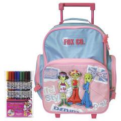 Školní batoh Cool trolley set - Fox Co. - modrorůžový