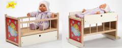 Dřevěná postýlka - kolébka pro panenky 3v1