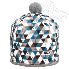 Zimní čepice s bambulkou trojúhelníky tyrkysové RDX Vel. 4