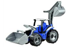 Traktor se lžící a bagrem, modro-šedý Lena