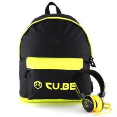 Batoh se sluchátky CU.BE - černý s neonově žlutými doplňky