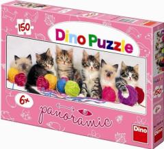 Puzzle Kočičky s klubíčky 66x23cm 150 dílků