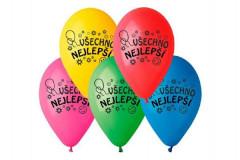 Balonek nafukovací Všechno nejlepší, průměr 26cm, 10ks v sáčku