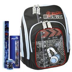Školní batoh Cool Cherry set - 4dílná sada - Funky Music + školní pomůcky