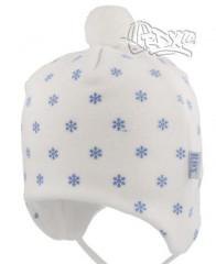 Zimní čepička na zavazování fleecová vločky bílá RDX