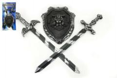 Rytířská sada 2 meče a štít plast 56cm