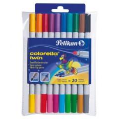 Fixy Pelikan 20 barev, oboustranné, pratelné