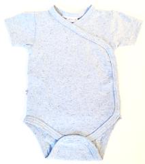 Bavlněné body krátký rukáv zavinovací Melírek Baby Service Modrá