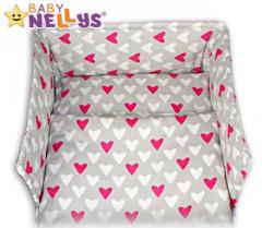 Mantinel do postýlky Baby Nellys ®- Srdíčka růžová/bílá v šedé 40*180 cm