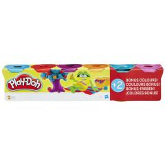 Play-Doh 4 kelímky + 2 bonus - zářivé barvy