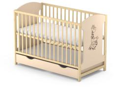 Dřevěná postýlka Baby sky Miki  - MIKI 101 borovice krém se šuplíkem