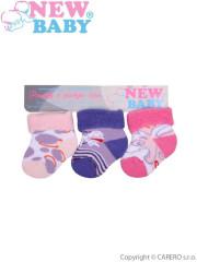 Kojenecké froté ponožky New Baby barevné - 3ks Vel. 62 (7-8)