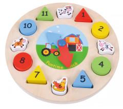 Dřevěné hodiny puzzle Sunbaby