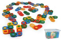 Kostky stavebnice domino plast 64ks v plastovém boxu