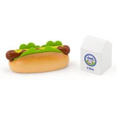 Dřevěná sada hotdog a mléko Viga