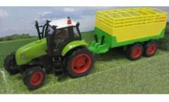 Traktor s vlečkou na setrvačník se zvukem a světlem, kov ŽLUTÝ VALNÍK