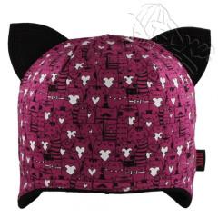 Bavlněná čepička dvouvrstvá s oušky kočky růžová RDX