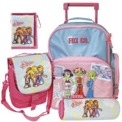 Školní batoh Cool trolley set - 4-dílná sada - modro-růžový + doplňky Winx I.