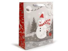 Dárková taška vánoční s glitry 26x32 cm SNĚHULÁK