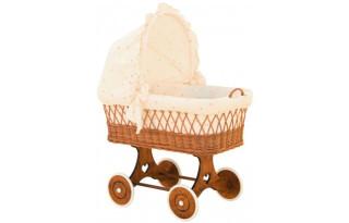 Proutěný koš pro miminko s boudičkou Šárka - béžový