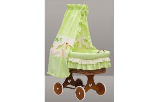 Proutěný koš na miminko s nebesy Dráček - zelený