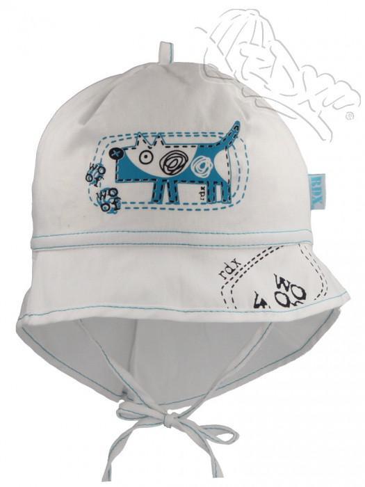 Letní zavazovací klobouček s plachetkou pejsek bílá RDX