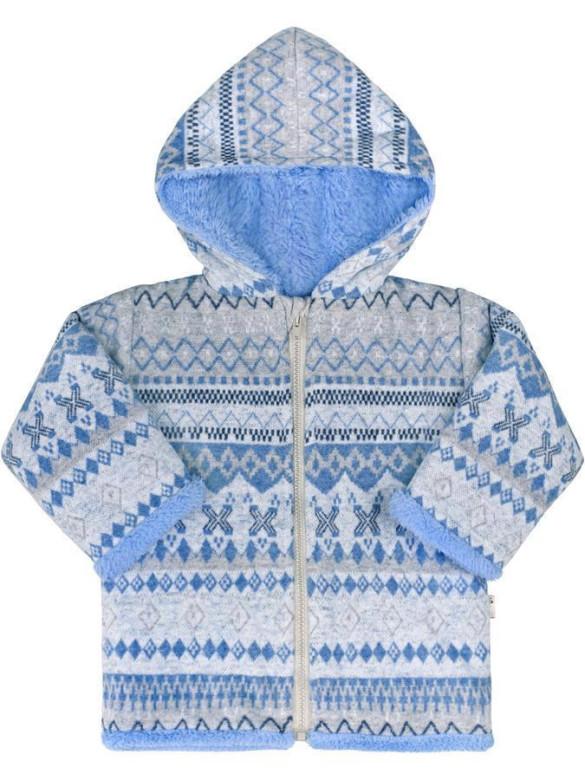 Zimní kabátek s kapucí wellsoft zateplený Etnik modrý Baby Service