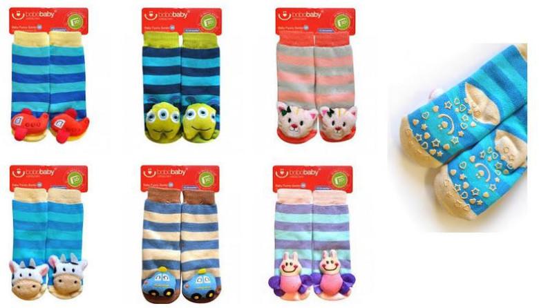 Kojenecké ponožky s chrastítkem a protiskluzem 12-24 měsíců  20379b1966