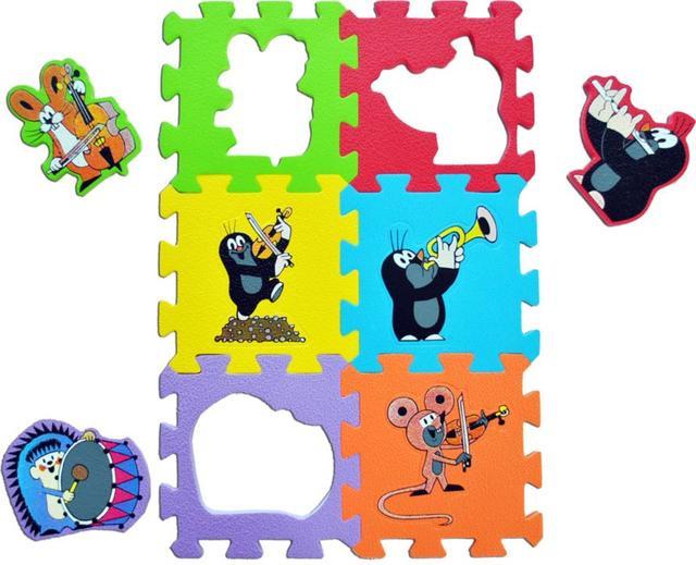 Pěnové puzzle - podložka KRTEK hudební nástroje 15 x 15 cm