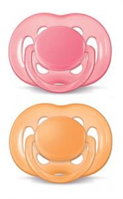 Šidítko silikonové SENSITIVE 6-18m 2ks Avent růžová + oranžová