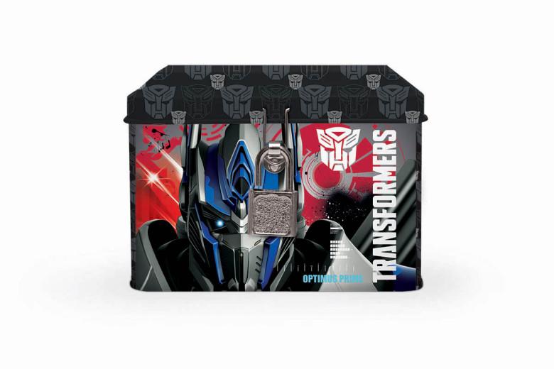 Plechová pokladnička se zámkem Transformers