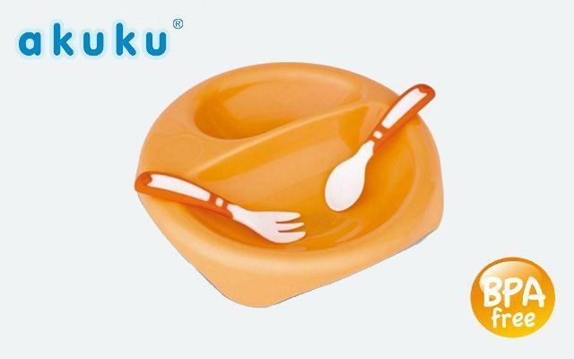 Talířek + vidlička a lžička Akuku 7 m +